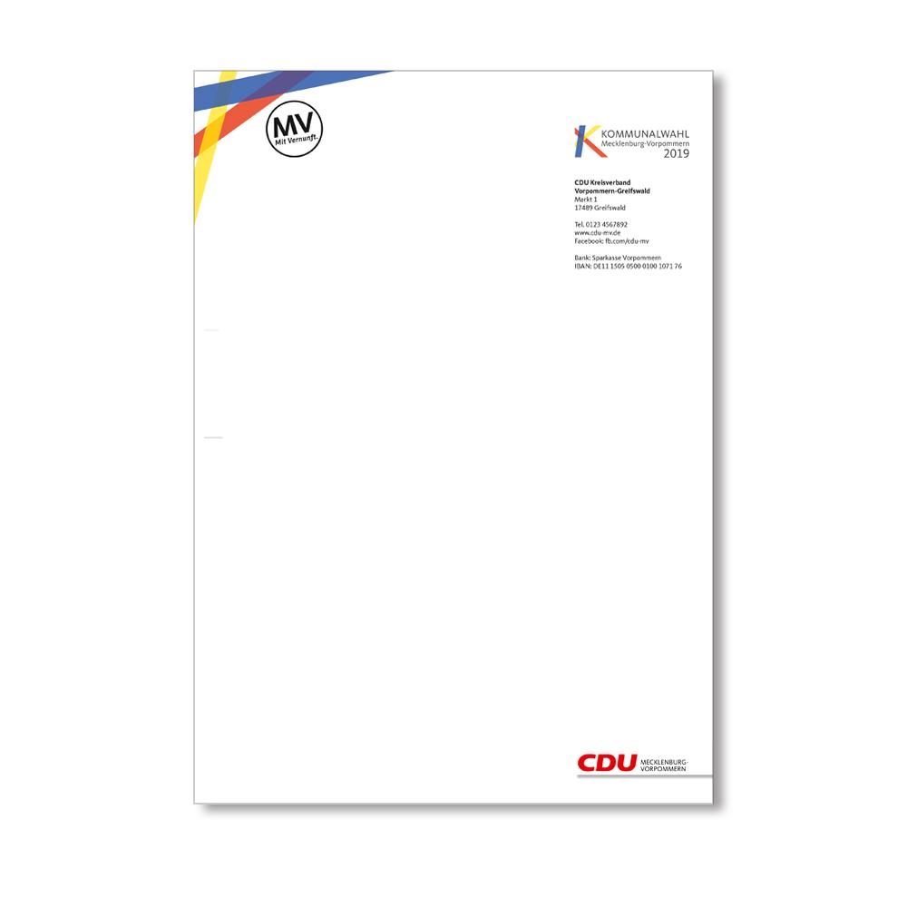 Cdu Kommunalwahlshop Mv Briefbogen Online Kaufen